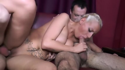 Short-Haired Blonde Mom Enjoys 2 Dicks In DVP - scene 2