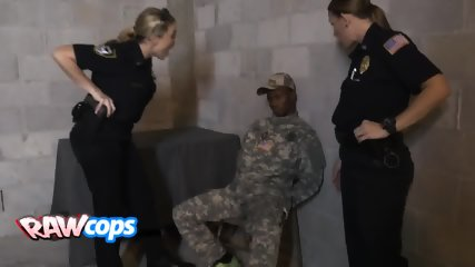 Naughty trio of horny female officers are exploiting a rock hard marine