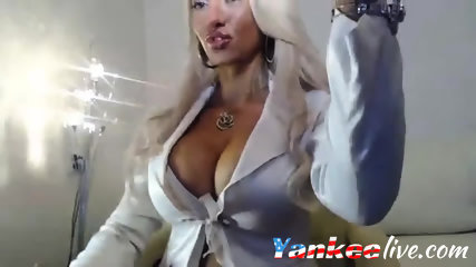 Glam babe with huge tits teases you for a stiff boner