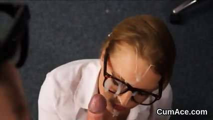 Nasty looker gets cum shot on her face sucking all the load