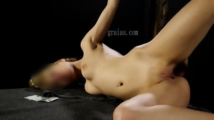 Cruel pussy whipping for the little blonde