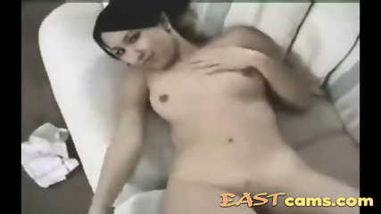 Shaved pussy brunette babe takes a cock deeply in pussy