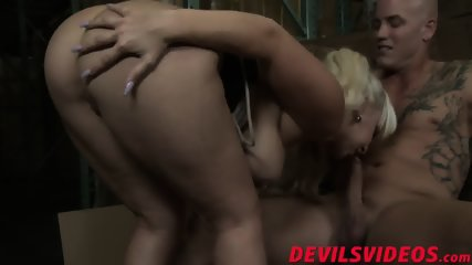 Naughty blonde babe sits her big ass and that fat schlong