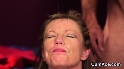 Sexy centerfold gets jizz shot on her face sucking all the ejaculate