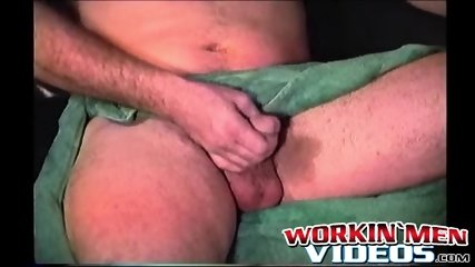 Tattooed butt muncher enjoys stroking his stiff pecker