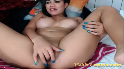 Mature asian bitch with big tits masturbates her pussy and teasing