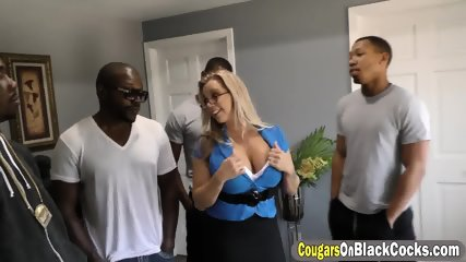 Sexy bitch with huge boobs is getting a hardcore interracial hammering