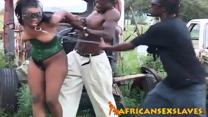 Sexy ebony slut in bondage got raped by two throbbing cocks