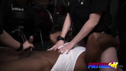 Stacked female cops seduce black guy and get their pussies pumped deep