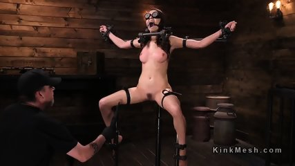 Babe strapped and gagged with funnel