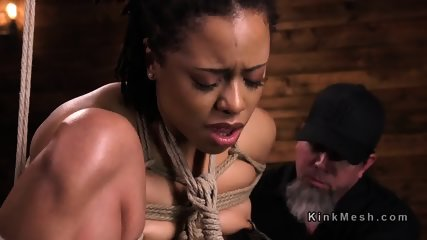 Hogtied ebony caned and anal fucked