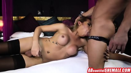 Sexy latin shemale with nice ass gets hammered after blowjob