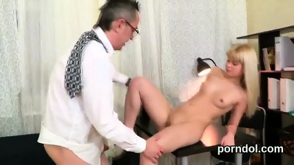 Nice bookworm was teased and reamed by her elderly tutor - scene 8