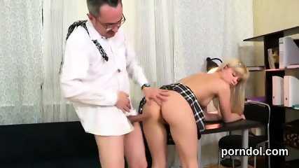 Nice bookworm was teased and reamed by her elderly tutor - scene 1