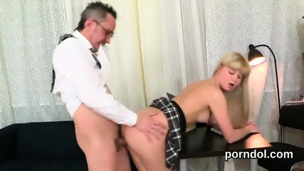 Nice bookworm was teased and reamed by her elderly tutor - scene 3