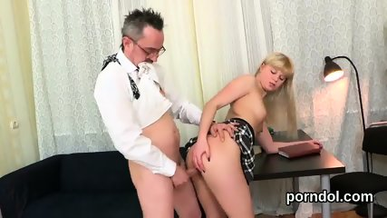 Nice bookworm was teased and reamed by her elderly tutor - scene 4