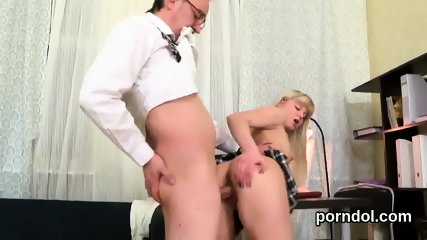 Nice bookworm was teased and reamed by her elderly tutor - scene 5