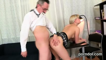 Nice bookworm was teased and reamed by her elderly tutor - scene 7