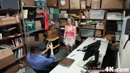 Young shoplifters Bonnie Grey and Maya Bijou getting stripped and fucked in threesome