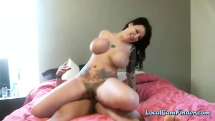 Chick with giant melons rides cock up her ass on livecam