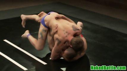 Inked jocks groped each other while wrestling