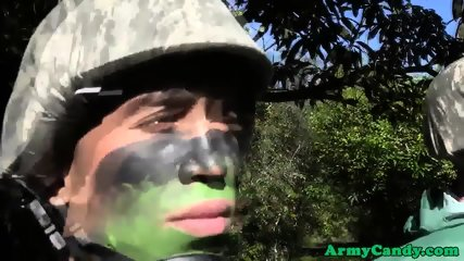 Army studs fucking during outdoor training