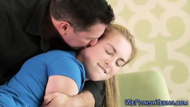 Blonde teen gets spanked