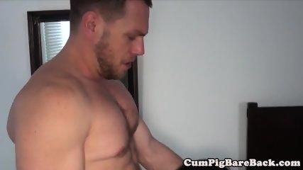 Jock barebacked by muscular daddy