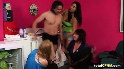 Three sluts jump a man and suck his cock