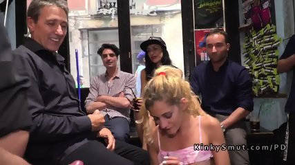 Toned blonde gangbanged in public bdsm