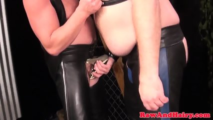 Chubby leather bear barebacked with cummy cock