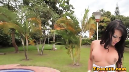 Bigtitted latina tgirl outdoors tugging cock