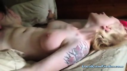 Naturally busty redhead makes a sex recording