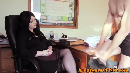 CFNM milf cocksucking in her office