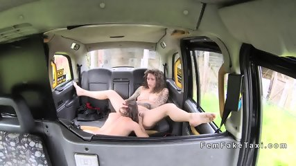 Lesbians masturbating in back seat in fake taxi