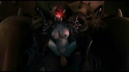 3D sex of One Dark Elf cougar and three Big Orcs 3D Hentai