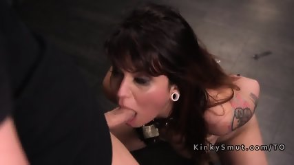 Bound slave got deep throat training
