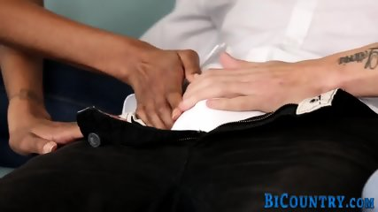 Bisex hunk tugs and cums