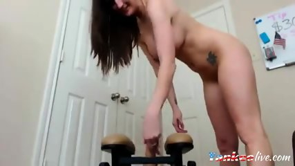Amateur beauty with an amazing body fucks a toy on livecam
