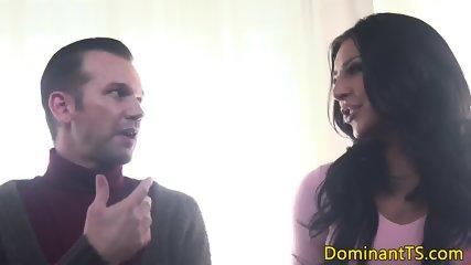 Dominant transgender babe throating her sub