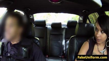 Ebony babe dicksucking officer in his car