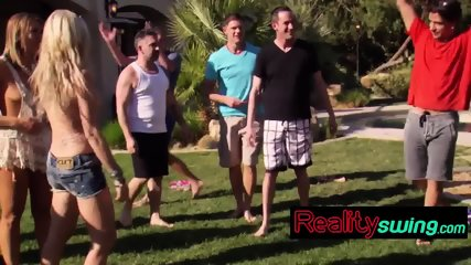 Group of swingers pleasing each other