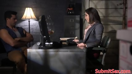 Throated sub gets electro play from her dom