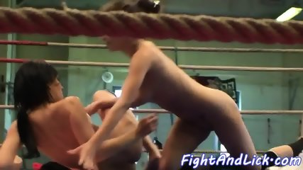 Wrestling lesbian toyed in a boxing ring