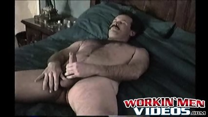 Fugly old man gets to work by stroking his hairy manhood