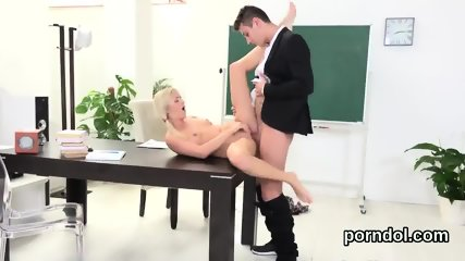 Pretty college girl gets seduced and reamed by her older mentor