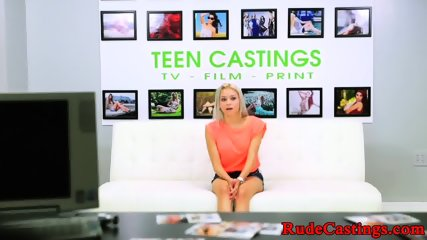 Gagging teen with bigtits at BDSM casting