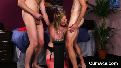 Kinky centerfold gets sperm shot on her face swallowing all the cum