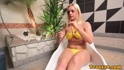 Bikini tgirl smoking and jerking before bj