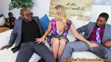 Busty mature fucked deeply in interracial mmf